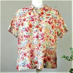 Vintage Bright Floral Button Down Shirt Blouse 616